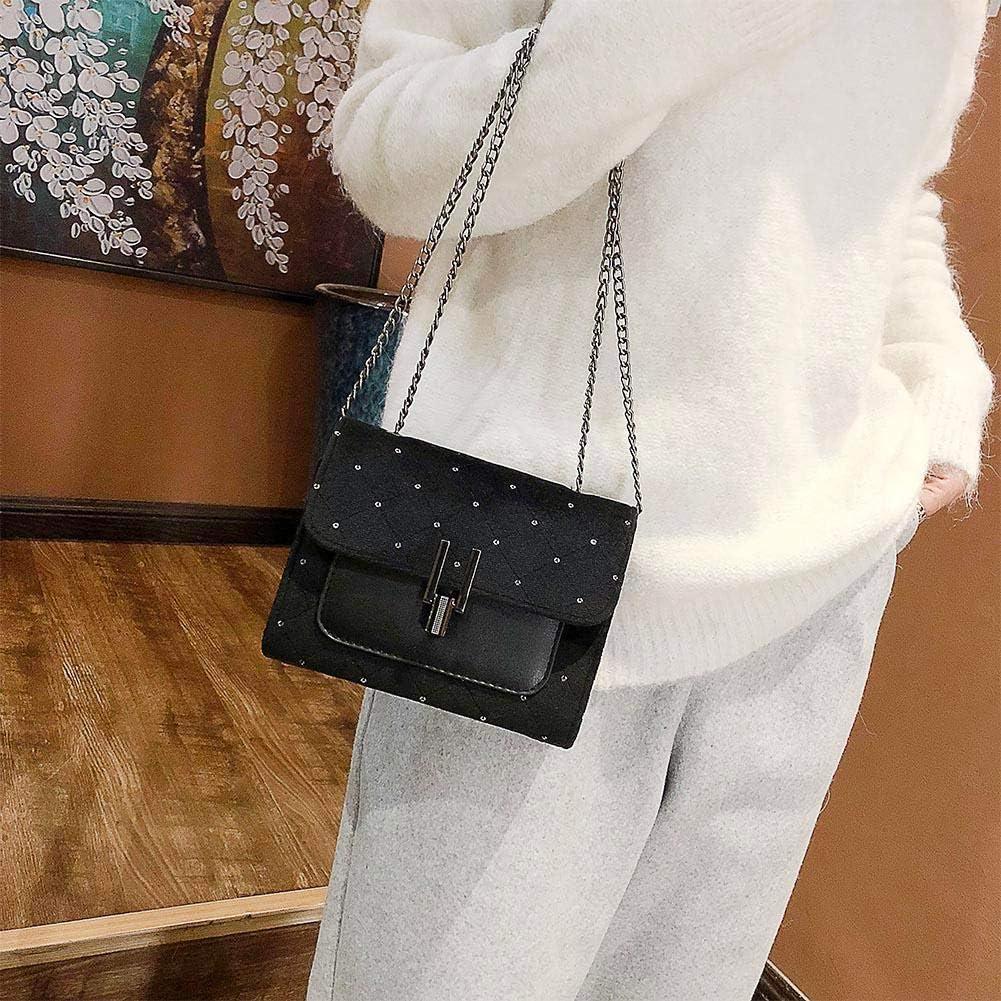 Jocestyle Women Crossbody Bags with Metal Chain Strap Velvet Dot Shoulder Bags