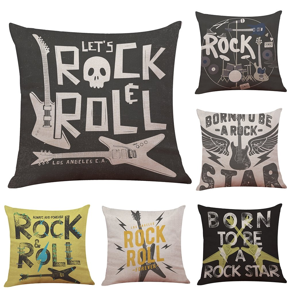 Alphabet Guitar Let's Rock &Roll Linen Decorative Throw Pillow Case Cushion Cover Set of 6 Home Office Sofa Square Pillow Case Cushion Cover Pillowcases 18 x 18 In by LightInTheBox
