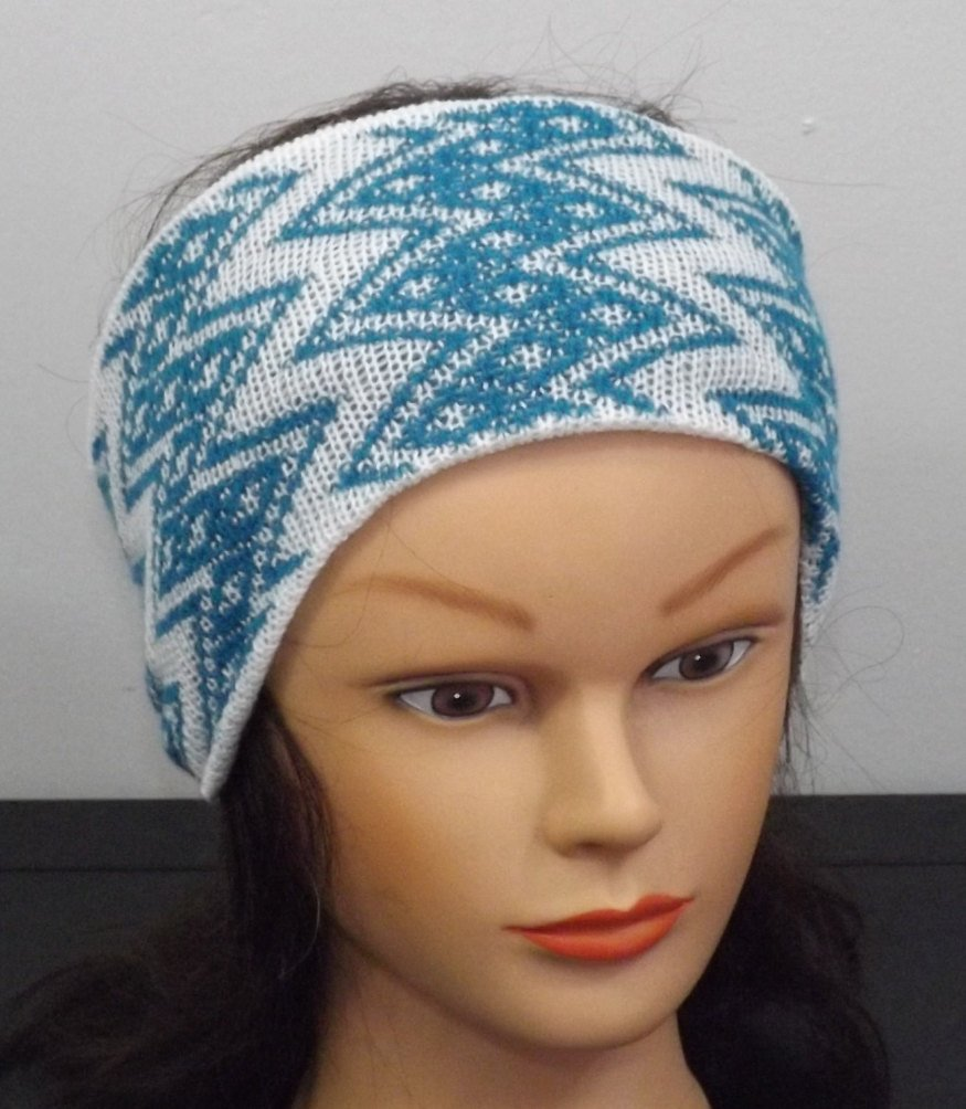 Headband Ear Warmers - Turquoise and White