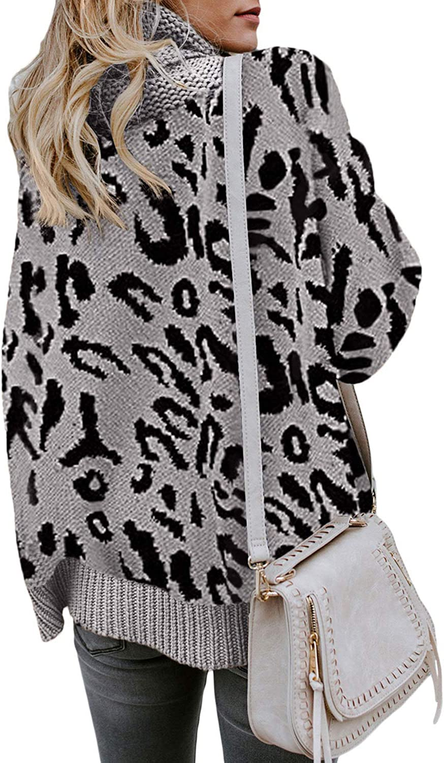 LOSRLY Womens Turtleneck Long Sleeve Leopard Printed Chunky Knit Pullover Sweater Tops
