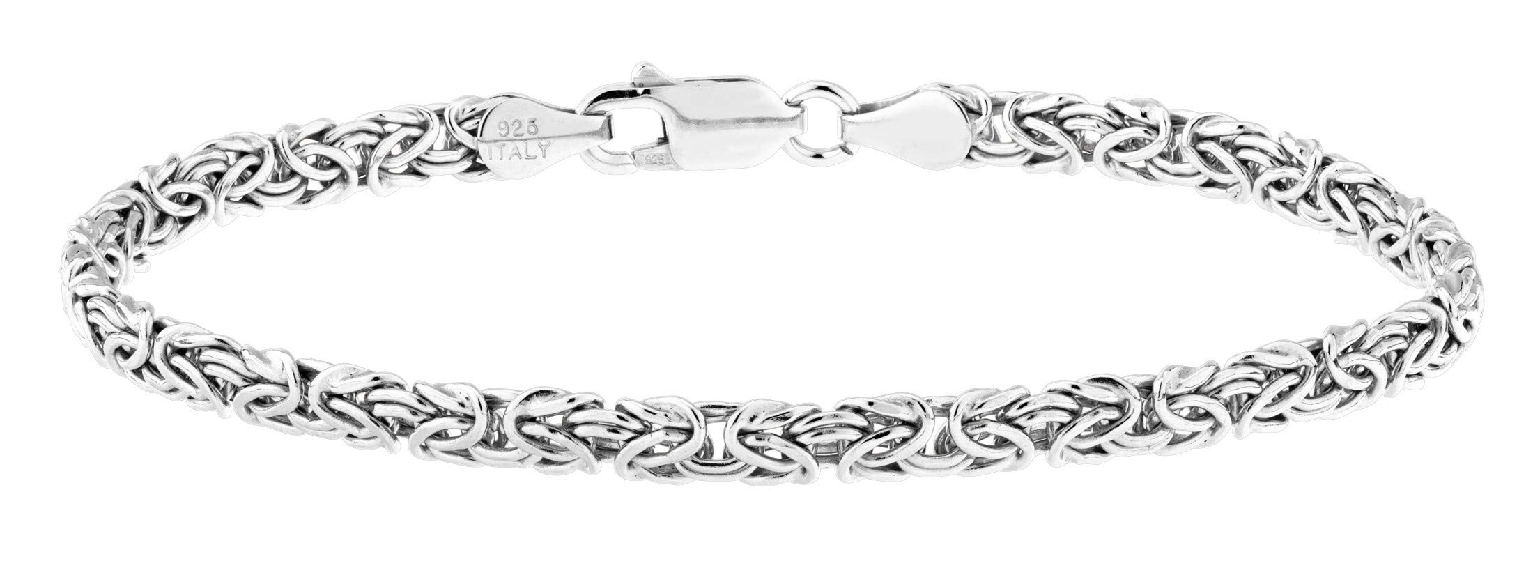 MiaBella 925 Sterling Silver Byzantine Link Chain Ankle Bracelet for Women Teen Girls, 6.5'', 7'', 7.5'', 8'' 9'', 10'' White or Yellow 925 Italy (10, Sterling-Silver)