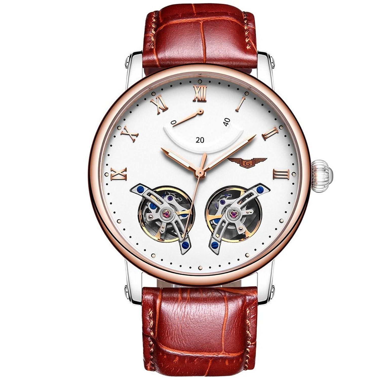 GUANQIN Analog Uhr Herren Automatik Mechanische Edelstahl und Leder Armbanduhr Gold Weiß Braun