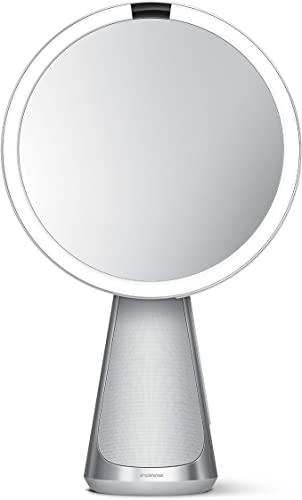 Introducing simplehuman Sensor Mirror Hi-Fi with Alexa, Superb Custom-Designed Audio, Extreme Color Accuracy, Touch Brightness Control, 5x Magnification