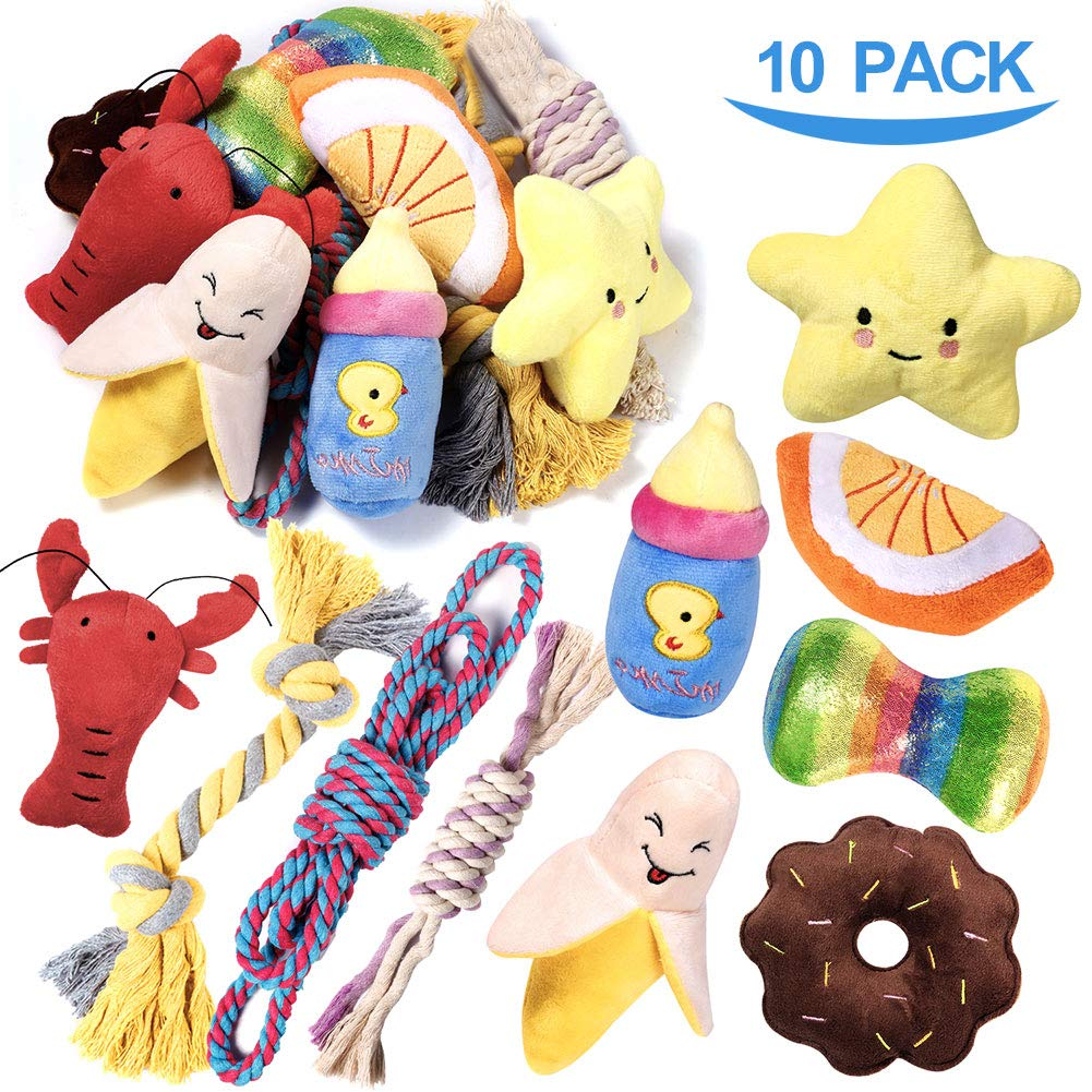 PLAYJOY Small Dog Toys/Puppy Chew Toys,10 Pack Interactive Dog Toys for Boredom, Cute Dog Toys for Small/Medium Dogs, Squeaky Plush Dog Toys, Dog Rope Toys