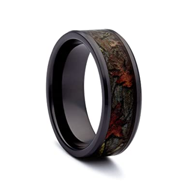 1 camo bevel ceramic black rings black camouflage wedding bands ring size 5 - Camouflage Wedding Rings