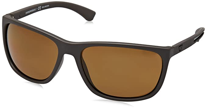 f9bc851d02 Image Unavailable. Image not available for. Color  Emporio Armani EA4078  530583 Matte Brown EA4078 Rectangle Sunglasses Polarised