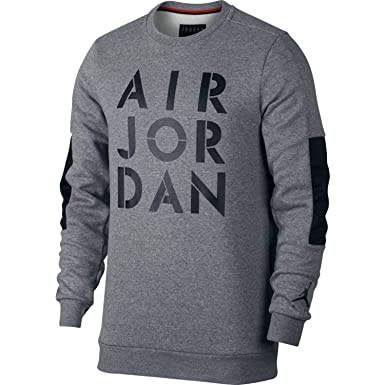 211fb7f1a93f Amazon.com  NIKE Mens Jordan Jumpman Hybrid Fleece Crew Sweatshirt Carbon  Heather Black 939988-091 Size X-Large  Clothing