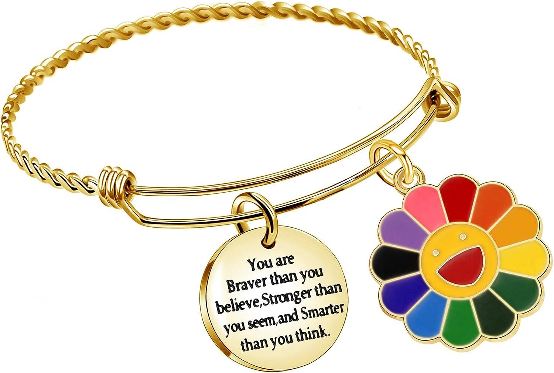 Pulsera de inspiración ACAROMAY para cumpleaños, regalo de agradecimiento, familia, amigos, graduación, Navidad, color dorado, suerte, colorido, flor