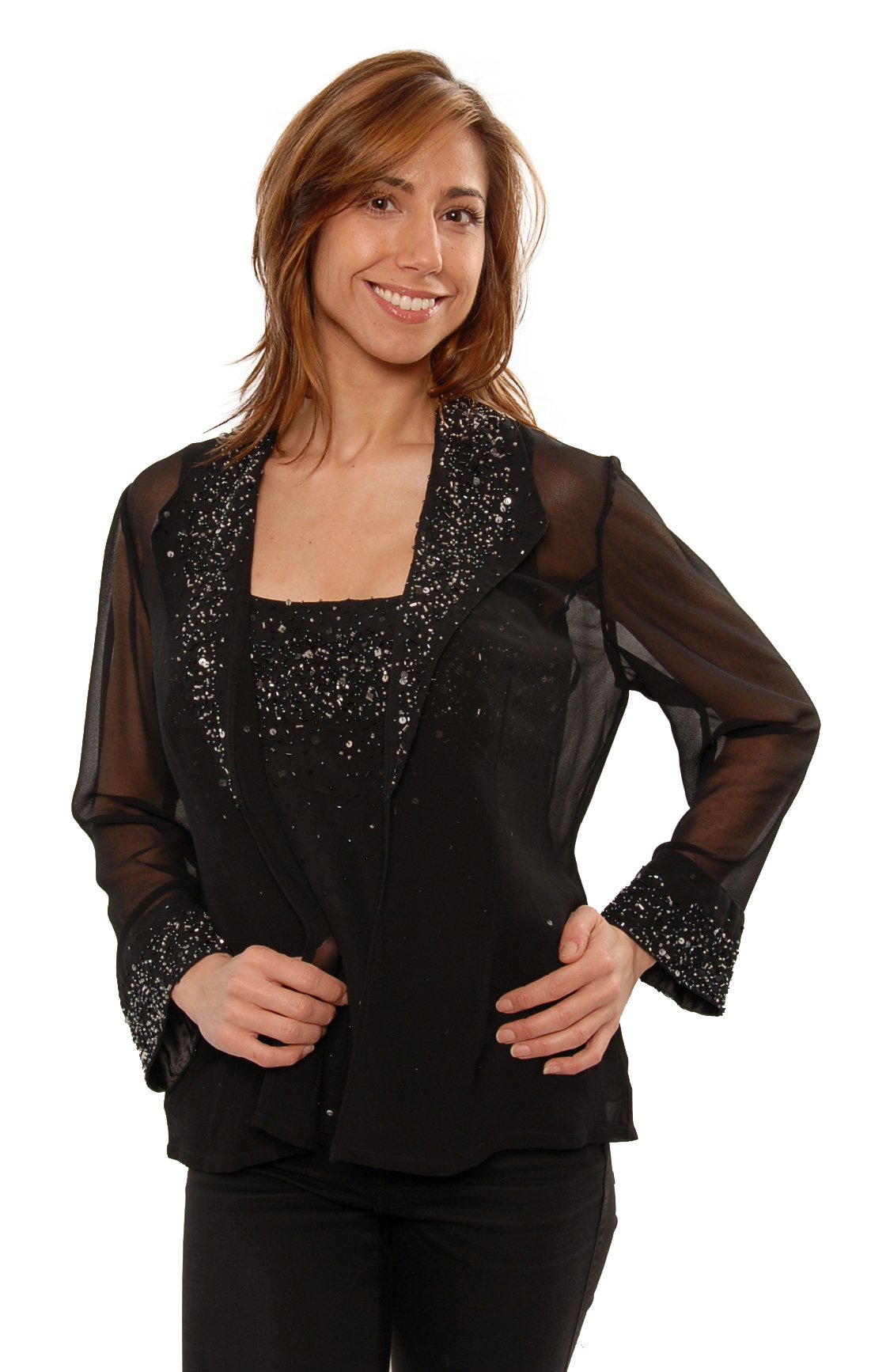 The Evening Store 2PC Cami and Jacket Hand Beaded (Small)