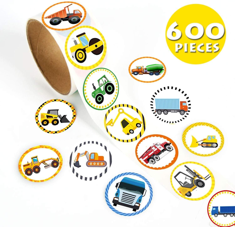Car Cute Label Sticker Sheets- 600 Pcs Suitcase Stickers Vinyl Decals, 1-3/5 Inch Reusable Roll Sticker for Kids, Game Prizes, Teacher Reward, Party Favor & Supplies, 24 Styles