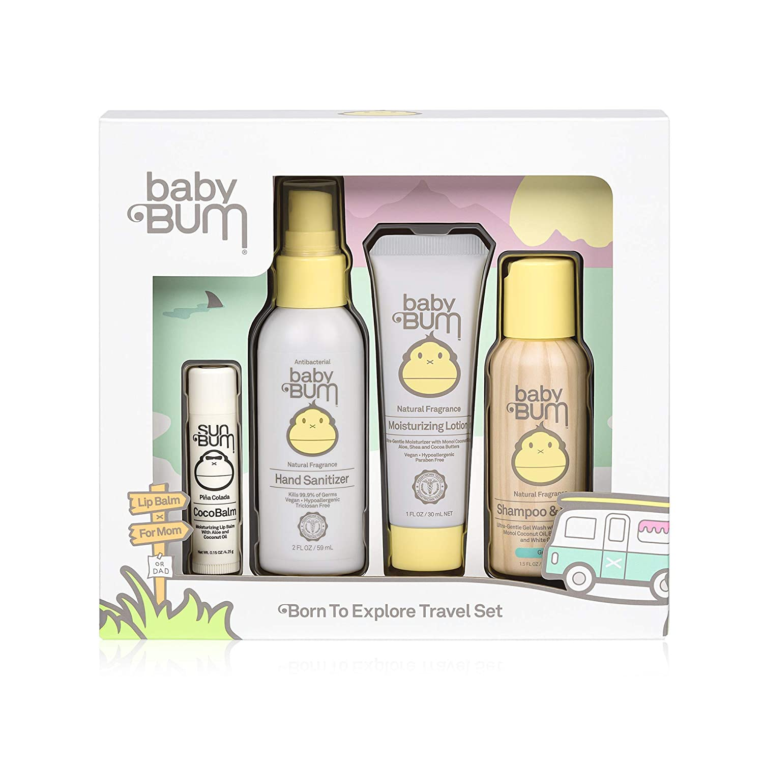 Baby Bum Born to Explore Travel Set   Travel Sized Essentials 4-Piece On-The-Go Gift Set for Sensitive Skin with Nourishing Coconut Oil   Natural and Coconut Fragrance   Gluten Free and Vegan