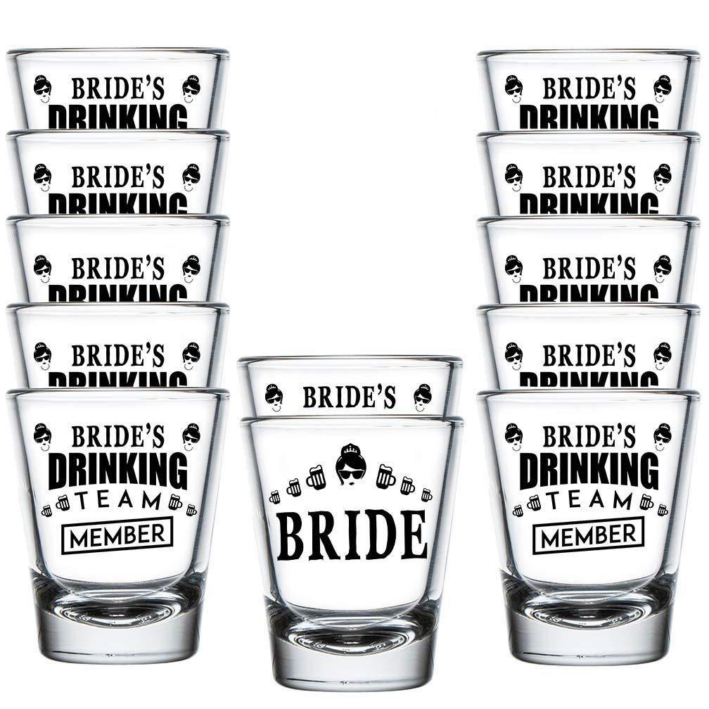 Shop4Ever Bride and Bride's Drinking Team Member Shot Glasses ~ Bachelorette Party Favors ~ (12 Pack)