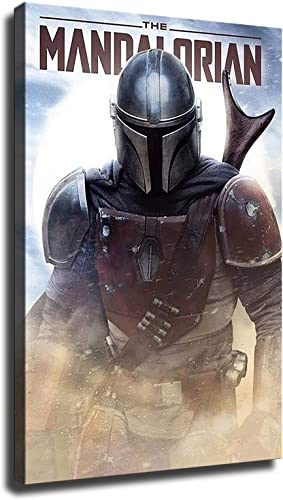 HD Canvas Print The Mandalorian Posters Wall Art Home Decor Painting Star Wars Posters Gift 24x36inch,Wooden Framed