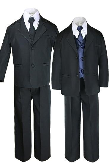 31ea978a5ec6 Amazon.com  7pc Boys Black Suit with Satin Navy Blue Vest Set from ...