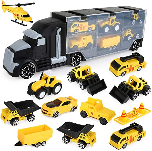 12 in 1 Engineering Construction Truck Transport Car Carrier, Truck Learning Toys Play Vehicles Car Gifts Set for Kids Boys Girls