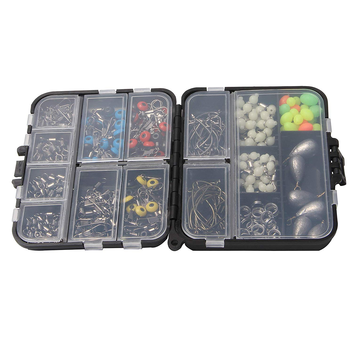 Sinker Weights Different Fishing Swivels Snaps Sinker Slides 251Pcs Sea Fishing Tackle Box Kit with Jig Hooks Fishing Line Beads for Saltwater Freshwater