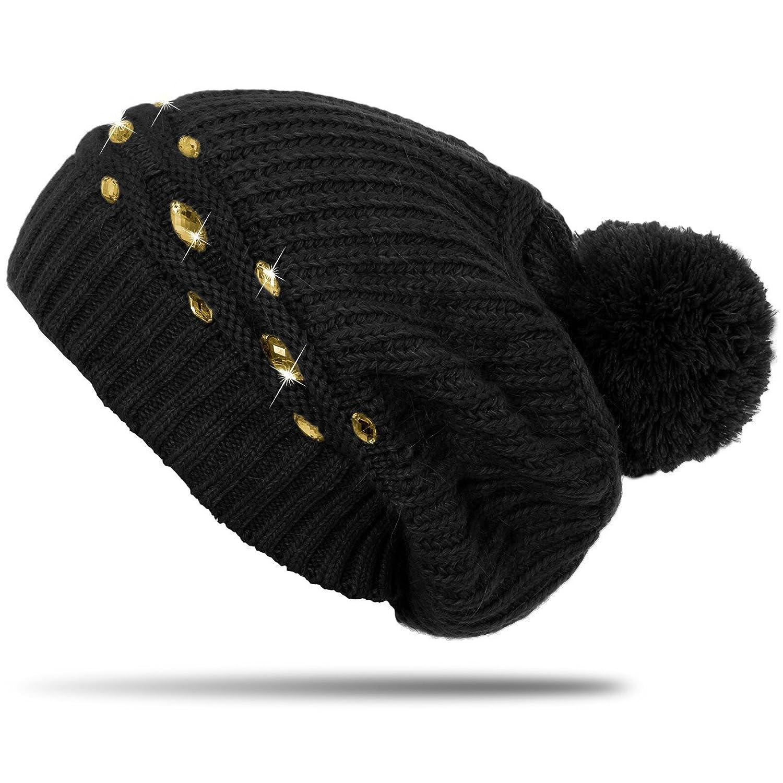 CASPAR Damen Winter Strick Mütze / Beanie mit Strass Dekor und grossem Bommel - viele Farben