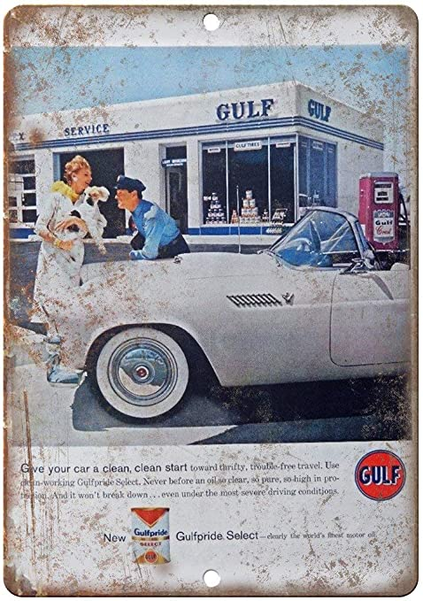 Gulf Motor Oil Gulfpride Select Placa Cartel Vintage Estaño ...