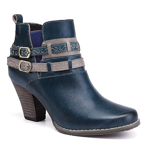 848d35ee5d8 gracosy Women Short Ankle Boots Ladies Leather Zip Boots Mid Block Heel  Buckle Shoes Winter Autumn