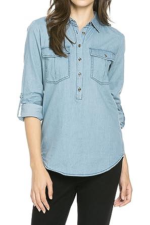 Women's Tencel Denim Half Button Down Collar Shirt at Amazon ...