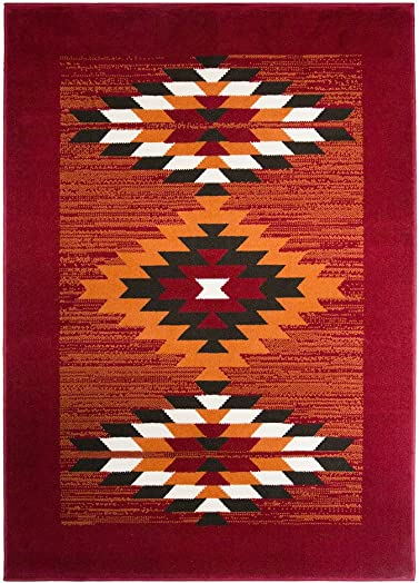 Milan Red Terracotta Brown Off-White Boho Aztec Tribal Living Room Accent Area Rug – 9 2 x 12