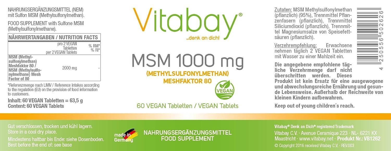 MSM (méthylsulfonylméthane) meshfaktor 80 - 1000 mg - 60 pastillas: Amazon.es: Salud y cuidado personal