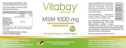 MSM (méthylsulfonylméthane) meshfaktor 80 - 1000 mg - 60 ...