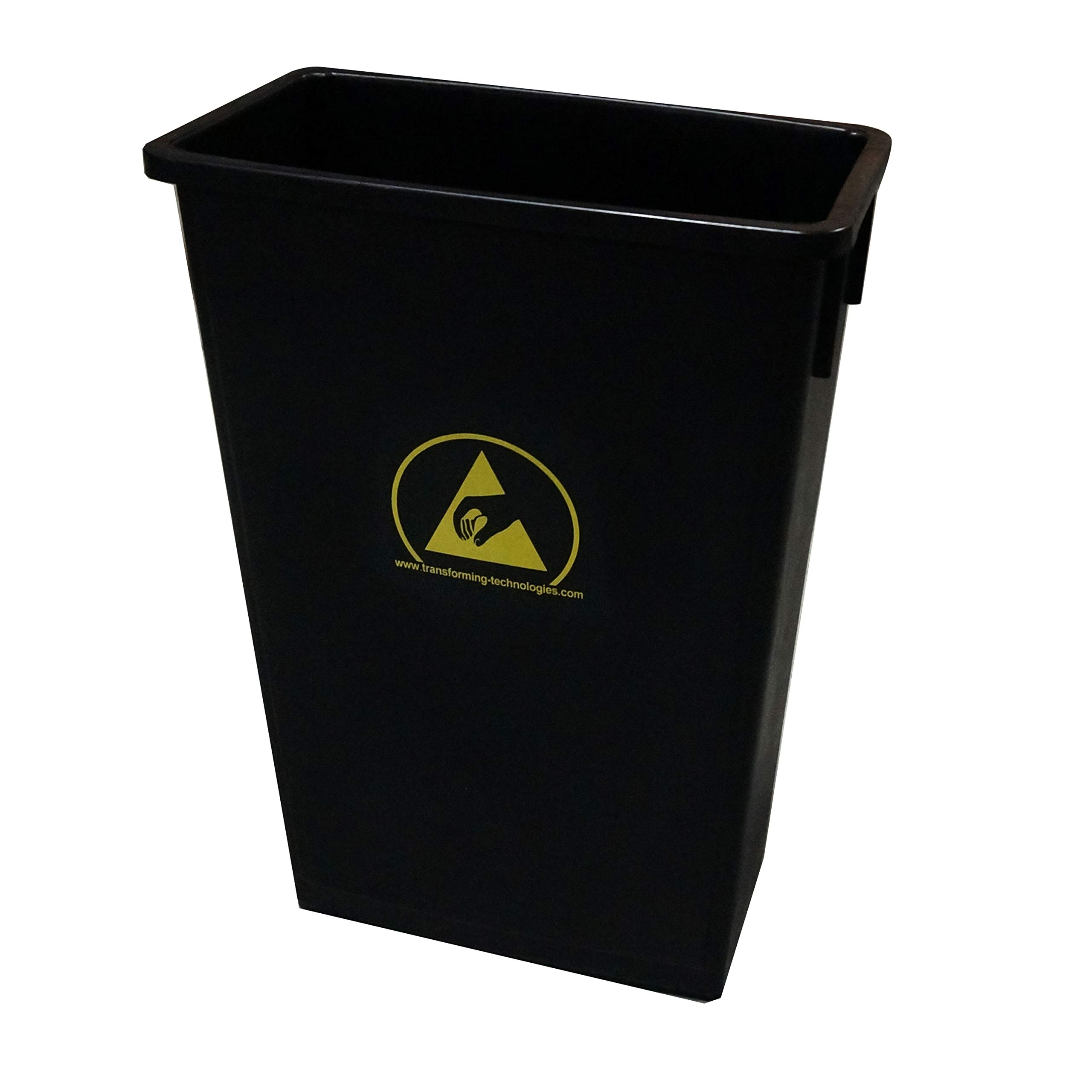 Static Care Carbon Loaded ESD Waste Basket with Yellow ESD Symbol 22 Gallon Capacity