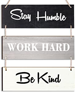 Stay Humble Work Hard Be Kind Wood Decorative Sign Rustic Wood Hanging Decor Family Hanging Plank Hanging Sign Motivational Inspirational Quote Wood Wall Sign Decoration for Home Office Living Room