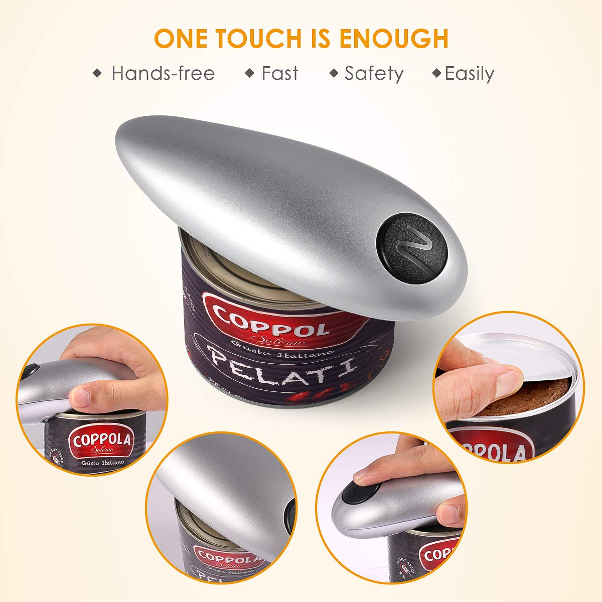 Electric Can Opener, Smooth Edge Automatic Can Opener for Any Size, Best Kitchen Gadget for Arthritis and Seniors (GrayClassic1) by instecho (Image #5)