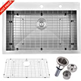 """Friho 32""""x 18"""" Inch 18 Gauge Commercial Large Topmount Drop-in Single Bowl Basin Handmade SUS304 Stainless Steel Kitchen Sink,Brushed Nickel Kitchen Sinks With Dish Grid and Basket Strainer"""