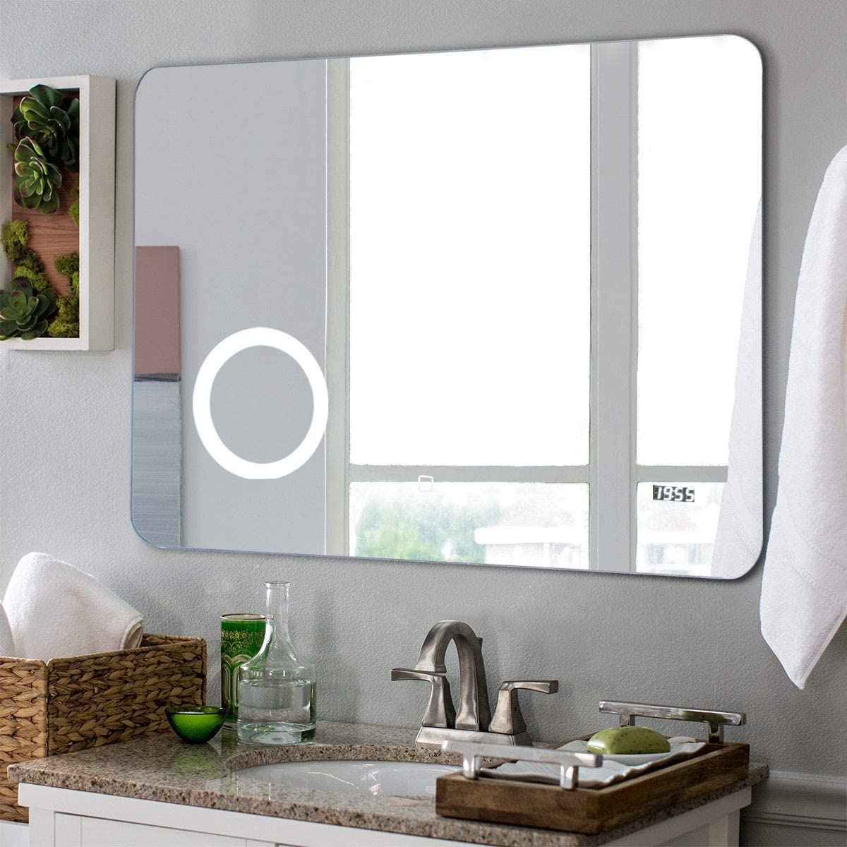 King77777 New Durable Modern Compact LED Touch Button Wall-Mounted Makeup Mirror with Clock Accent Bedroom Bathroom