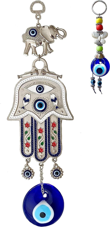 Hamsa Hand of Mother Fatima Evil Eye Wall Hanging with Keychain – Hamsa Fatima's Hand Wall Decor – Good Luck Charm Gift - Metal Home Protection Wall Decor – Turkish Greek Eye - Hand of God