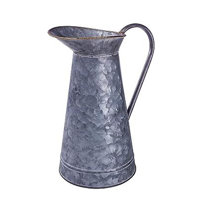 Lanperle Decorative Galvanized-Metal Pitcher | Garden Decoration | Gardening Gift/Souvenir | Metal Flower Pot/Vase Decor: Home & Kitchen
