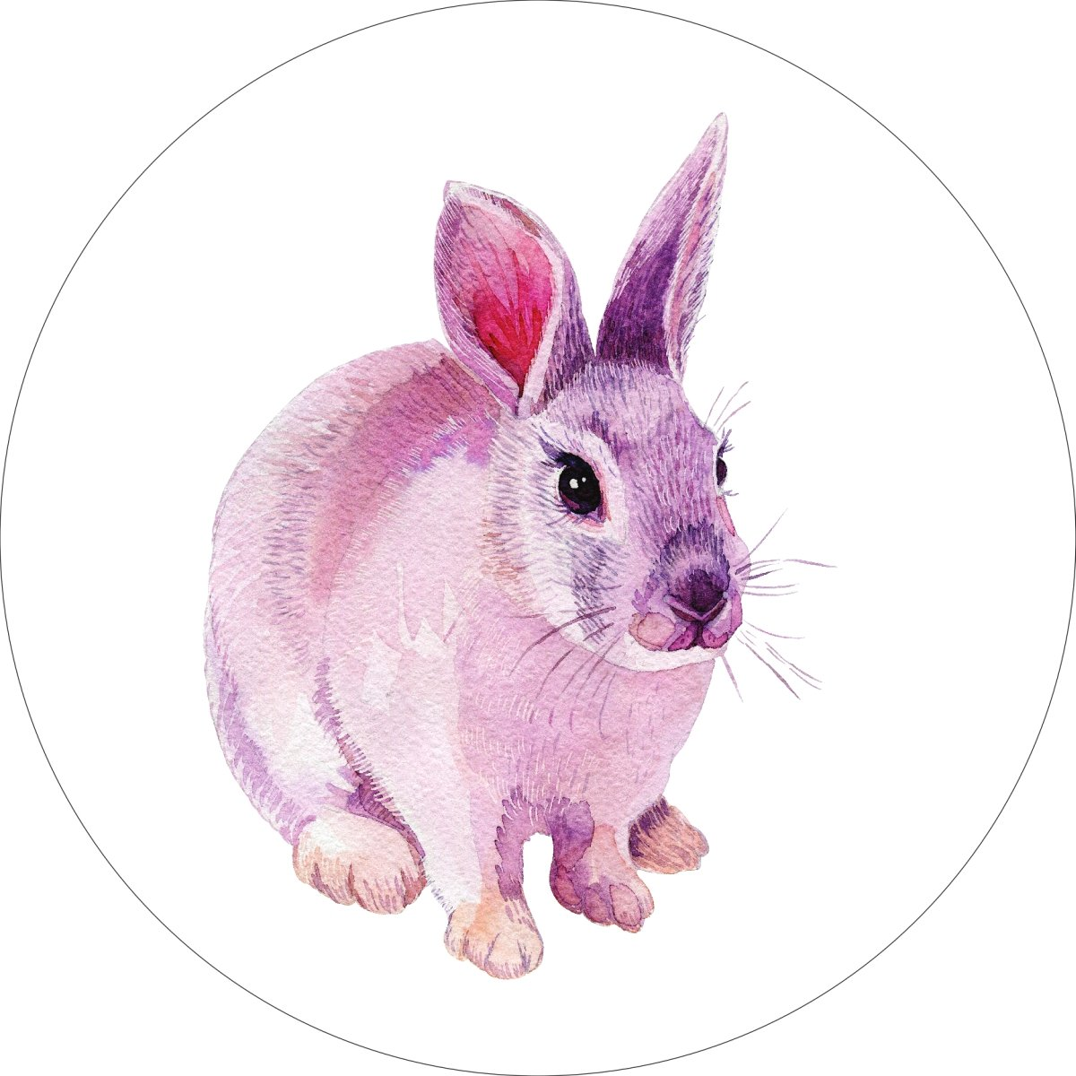 Cottontail Bunny Rabbit Home Wall Shelf Decor Animal Decorations Watercolor Round Sign - 18 Inch, Metal
