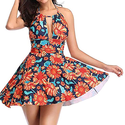 03977dbe36fac Women's One Piece Bikini Swimsuit Plus Size Sexy V Neck Halter Hollow Print  Swim Dress Skirted Bathing Suit S-3XL at Amazon Women's Clothing store: