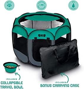 Ruff 'n Ruffus Portable Foldable Pet Playpen + Carrying Case & Collapsible Travel Bowl | Indoor/Outdoor use | Water Resistant | Removable Shade Cover | Dogs/Cats/Rabbit | Available in 3 Sizes