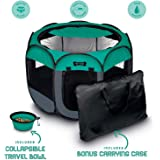 Ruff 'n Ruffus Portable Foldable Pet Playpen + Carrying Case & Collapsible Travel Bowl | Indoor/Outdoor use | Water Resistant