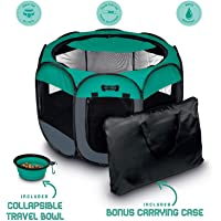 "Ruff 'n Ruffus Portable Foldable Pet Playpen + Carrying Case & Collapsible Travel Bowl (Extra Large (48"" x 48"" x 23.5"")) (Medium (29"" x 29"" x 17"") with Free Bonus, Aqua)"