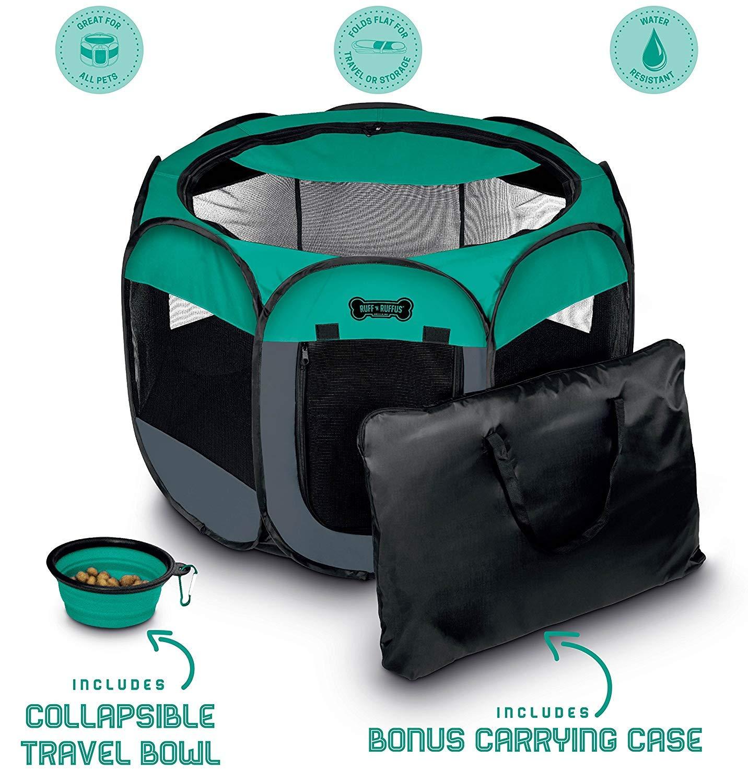 Ruff 'n Ruffus Portable Foldable Pet Playpen + Carrying Case & Collapsible Travel Bowl (Medium (29″ x 29″ x 17″))