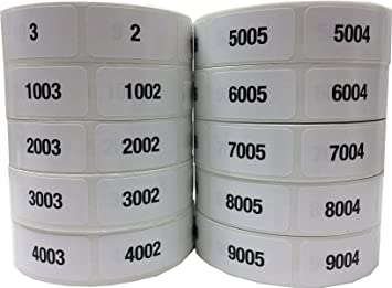 Black on Silver Labels Consecutive Sequential Numbering Stickers 001 to 10000