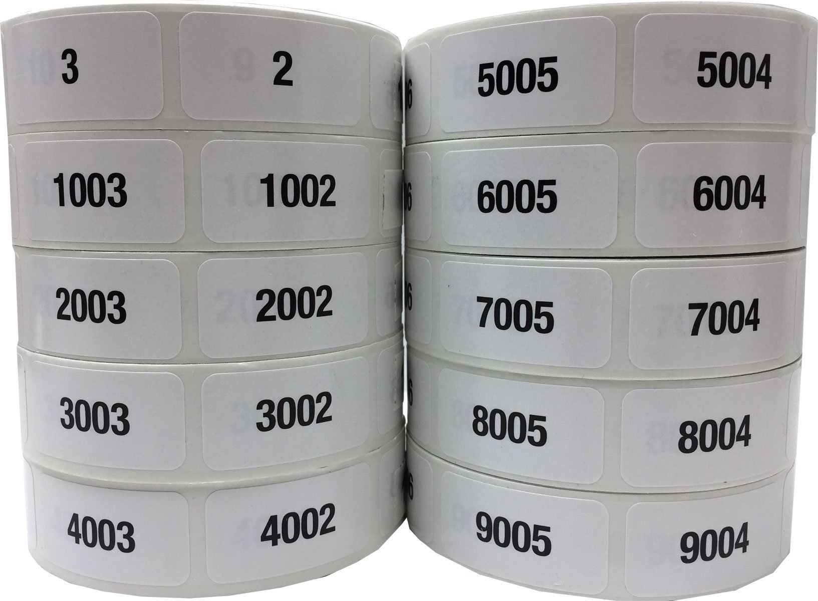 Consecutive Number Labels Bulk Pack Numbers 1 Through 10,000 White/Black .75 x 1.5 Rectangle Small Number Stickers For Inventory by InStockLabels.com (Image #1)