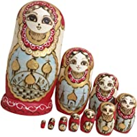 HOMYL Vintage Girls Russian Nesting Doll Babushka Matryoshka Stacking Dolls Set