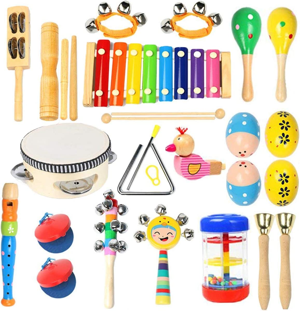 Ehome Toddler Musical Instruments, Wooden Percussion Instruments Educational Preschool Toy for Kids Baby Instrument Musical Toys Set for Boys and Girls with Storage Bag: Toys & Games