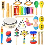 Toddler Musical Instruments Ehome 15 Types 22pcs Wooden Percussion Instruments Toy for Kids Preschool Educational, Musical To