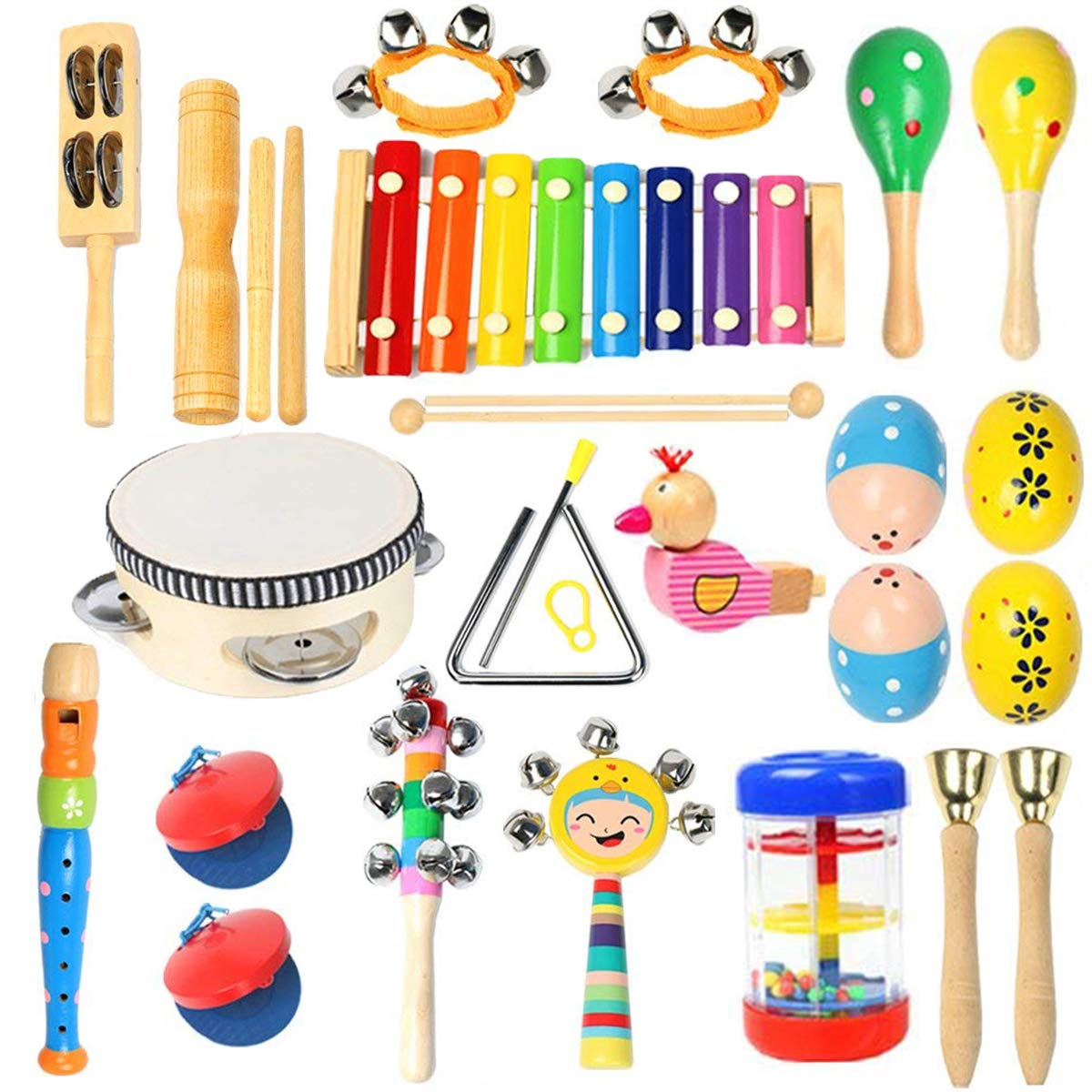 Toddler Musical Instruments- Ehome 15 Types 22pcs Wooden Percussion Instruments Toy