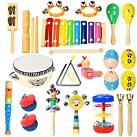 Toddler Musical Instruments Ehome 15 Types 22pcs Wooden Percussion Instruments Toy for Kids Preschool Educational, Musical Toys Set for Boys and Girls with Storage Bag