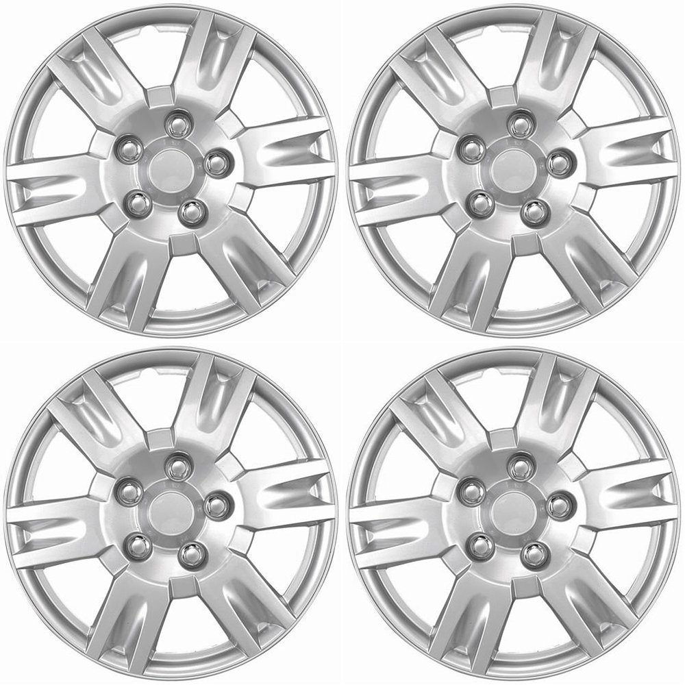 OxGord Hubcaps for Nissan Altima (Pack of 4) Wheel Covers - 16 Inch, 6 Spoke, Snap On, Silver