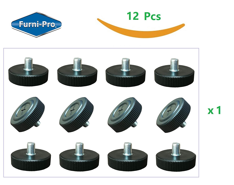 "FURNI-PRO 12 pcs Table Bases Glides #M8-1.25 for Restaurants & Homes, Extra Large Base w/Side Strips for Easy Adjusting, Thread: #M8-1.25, 1/2"" H (12, M8-1.25)"