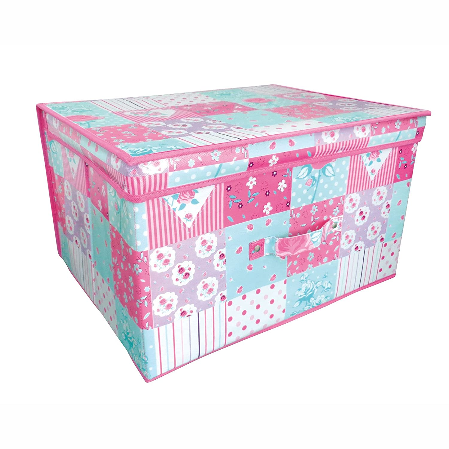 Folding Pink And Teal Patchwork Kids Room Tidy Toy Storage Box With Lid:  Amazon.co.uk: Kitchen U0026 Home